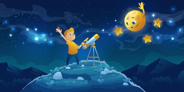 Dziecko Patrzy W Teleskop, Ciekawy Mały Chłopiec Macha Ręką Do Przyjaznego Księżyca I Gwiazd Na Ciemnym Nocnym Niebie Z Drogą Mleczną. Darmowych Wektorów