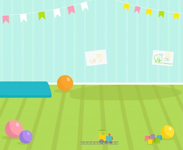 Dziecko Pokoju Wnętrza Widok Babyroom Wystroju Dzieci Dziecinna Wewnętrzna Ilustracja Z Meblami I Zabawkami. Przedszkole Dzieciństwo Wnętrze Chłopca Lub Dziewczynki Miejsce Premium Wektorów