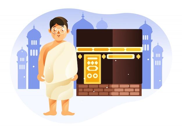 Dziecko Przed Kaabą Mekką W Ihramie W Pielgrzymce Islamu Hadżdż Premium Wektorów