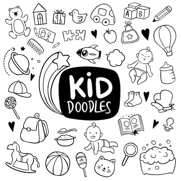 Dziecko Ręcznie Rysowane Doodle Obiektów Premium Wektorów