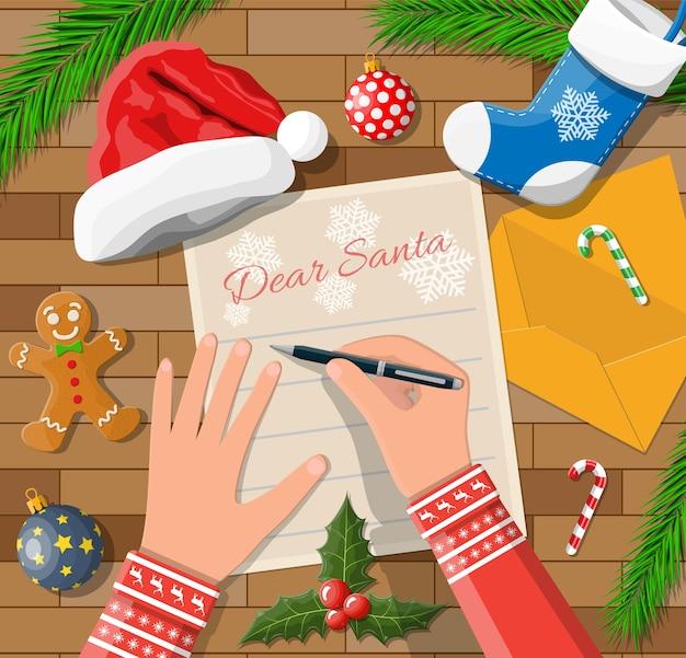 Dziecko Ręka Pióra Pisanie Listu Do świętego Mikołaja Premium Wektorów