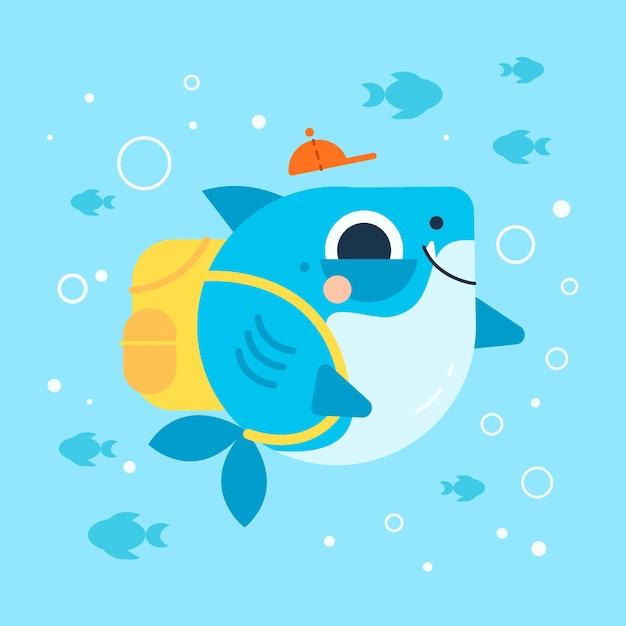 Dziecko Rekin W Stylu Cartoon Darmowych Wektorów