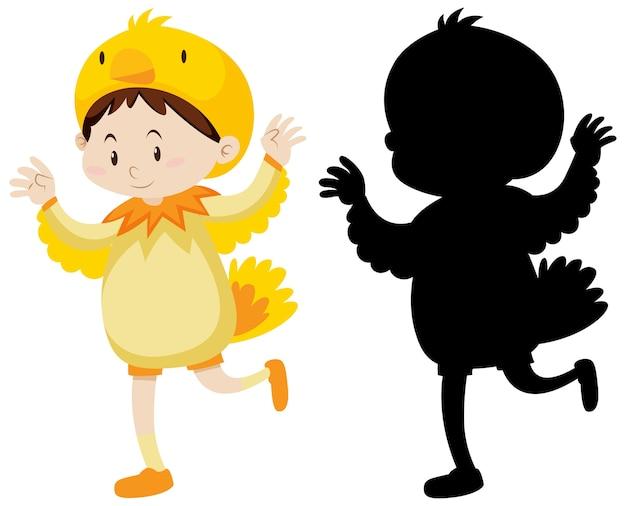 Dziecko Ubrane W Kostium Kurczaka Z Jego Sylwetka Darmowych Wektorów