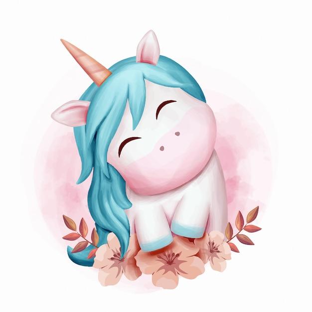 Dziecko unicorn smile cute akwarela Premium Wektorów
