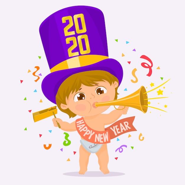 Dziecko z girlandą nowego roku pod konfetti Premium Wektorów