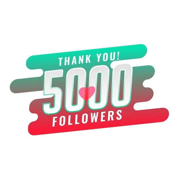 Dziękuję 5000 Projektów Szablonów Zwolenników Mediów Społecznościowych Darmowych Wektorów