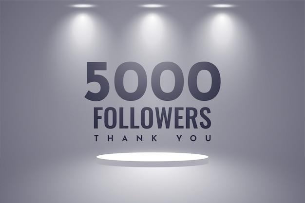 Dziękuję 5000 Zwolenników Projektowania Szablonu Ilustracji Premium Wektorów