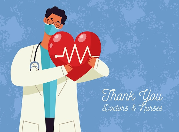 Dziękuję Lekarzom I Pielęgniarkom Karta Greeitng Z Lekarzem Mężczyzną Podnoszącym Serce Cardio Premium Wektorów