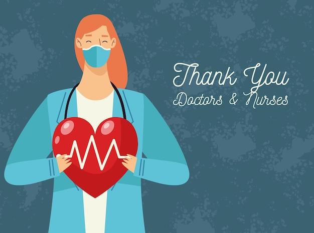 Dziękuję Lekarzom I Pielęgniarkom Kartkę Z życzeniami Z Lekarzem Kobietą Podnoszącą Serce Cardio Premium Wektorów