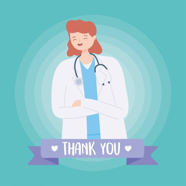 Dziękuję Lekarzom I Pielęgniarkom, Lekarce W Płaszczu I Stetoskopie Premium Wektorów