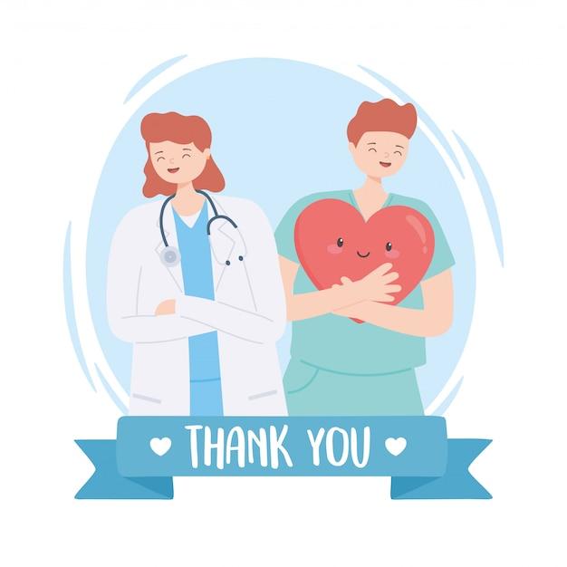 Dziękuję Lekarzom I Pielęgniarkom, Lekarce Ze Stetoskopem I Pielęgniarce Z Kreskówką Serca Premium Wektorów