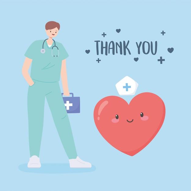 Dziękuję Lekarzom I Pielęgniarkom, Lekarzowi Z Apteczką I Kreskówką Serca Premium Wektorów