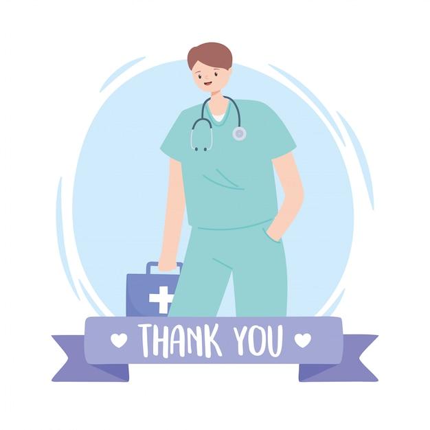 Dziękuję Lekarzom I Pielęgniarkom, Lekarzowi Ze Stetoskopem I Apteczką Premium Wektorów