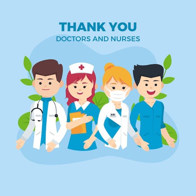 Dziękuję Lekarzom I Pielęgniarkom Za Wsparcie Premium Wektorów