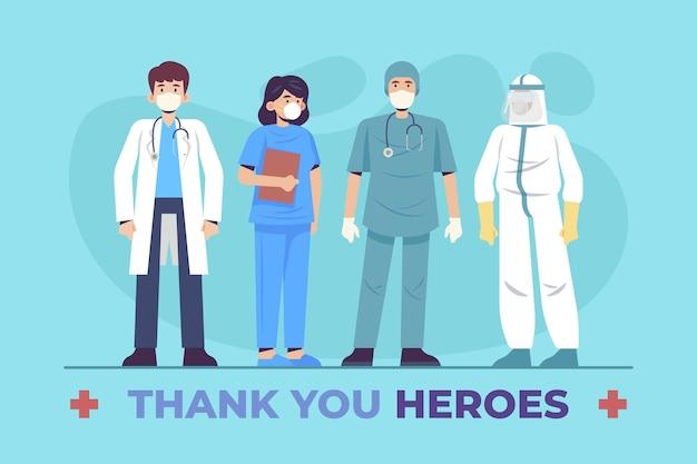 Dziękuję Lekarzom I Pielęgniarkom Premium Wektorów