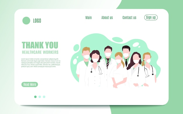 Dziękuję Odważnej Opiece Zdrowotnej Pracującej W Szpitalach I Zwalczającej Epidemię Koronawirusa. Ilustracja Premium Wektorów