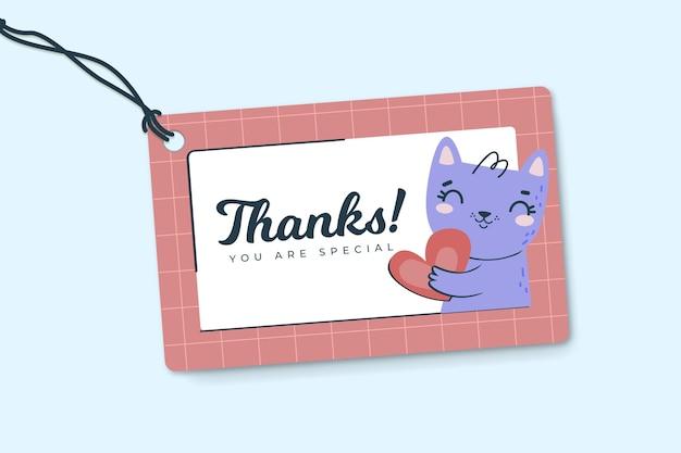 Dziękuję Szablon Etykiety Z Kotem Darmowych Wektorów
