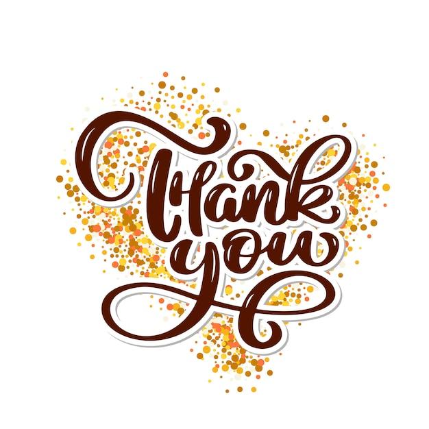 Dziękuję Tekst Na Złotym Tle W Kształcie Serca Premium Wektorów
