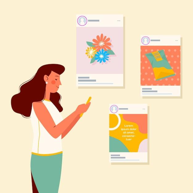 Dzielić Zawartość Na Ogólnospołecznej Medialnej Pojęcie Ilustraci Darmowych Wektorów