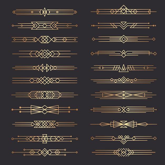 Dzielniki W Stylu Art Deco. Linie Kształty Dekoracyjne Obramowania Minimalistyczny Wirowy Wystrój Kolekcja Szablonów Z Lat 20. Xx Wieku. Ilustracja Ozdobny Obramowanie Deco, Przewiń Klasyczną Ramkę Na Stronę Premium Wektorów