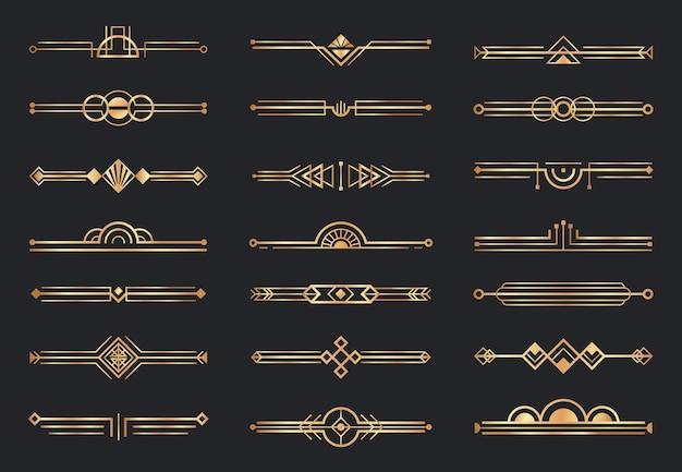 Dzielniki W Złotym Stylu Art Deco. Dekoracyjne Obramowanie Geometryczne, Retro Złote Przekładki I Luksusowe Elementy Dekoracji Z Lat 20. Xx Wieku. Premium Wektorów