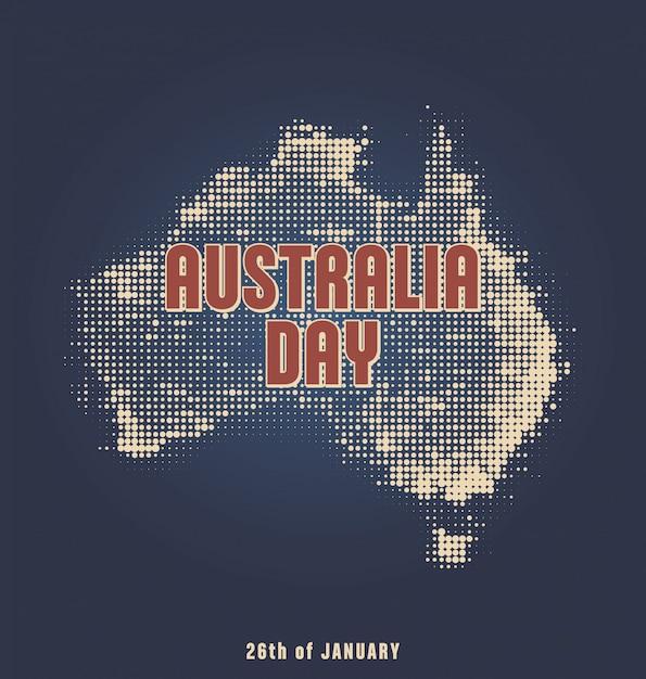 Dzień australii - 26 stycznia - projekt typograficzny z mapą półtonów Premium Wektorów