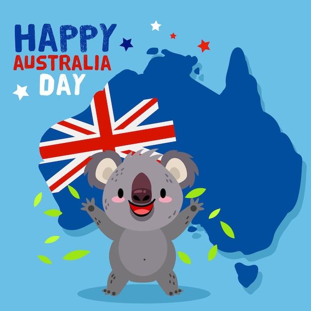Dzień Australii W Płaskiej Konstrukcji Darmowych Wektorów