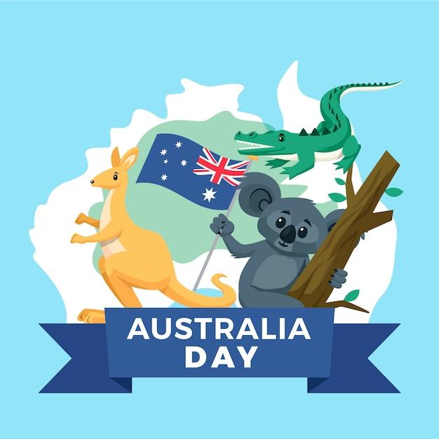 Dzień Australii Z Mapą I Zwierzętami Darmowych Wektorów