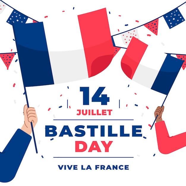 Dzień Bastylii Z Flagami Francji I Girlandami Premium Wektorów