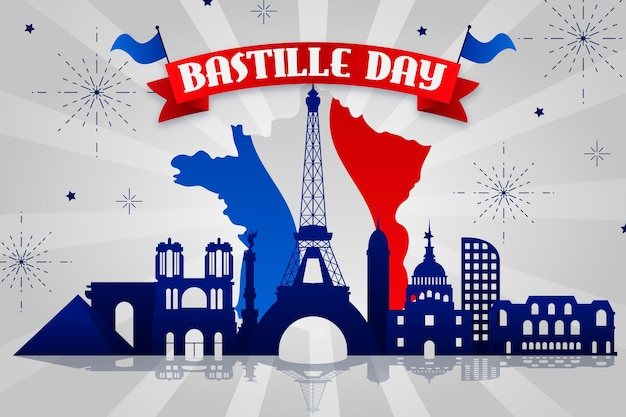 Dzień Bastylii Z Mapą I Flagą Premium Wektorów