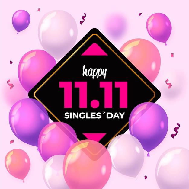 Dzień Dla Singli Z Realistycznymi Balonami Premium Wektorów