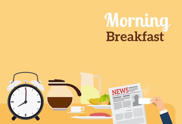 Dzień Dobry Banner śniadanie Premium Wektorów