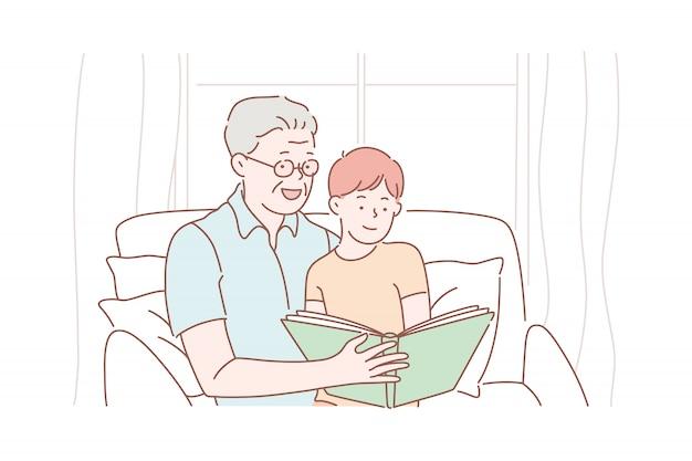Dzień Dziadka, Dziadek, Dzieciństwo. Premium Wektorów