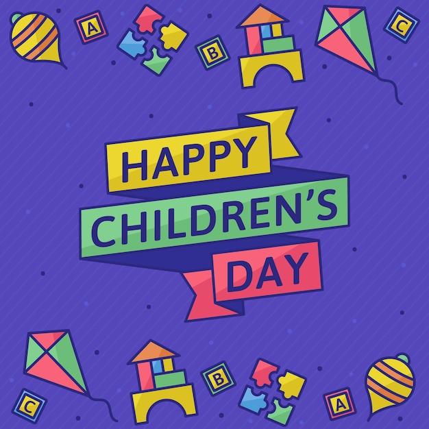 Dzień dziecka w płaskiej konstrukcji Darmowych Wektorów