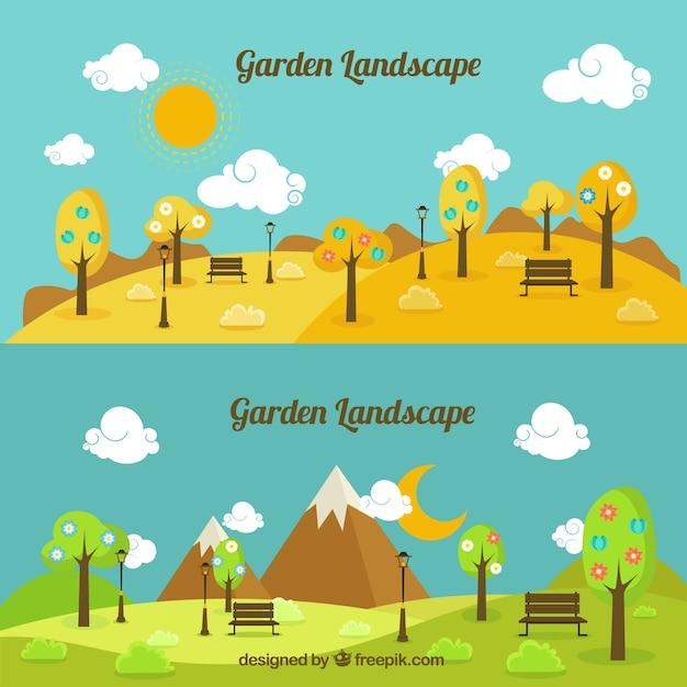 Dzień i noc ogród krajobraz Darmowych Wektorów