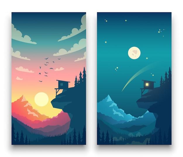 Dzień i noc płaski wektor górski krajobraz z księżyca, słońca i chmur na niebie. koncepcja wektor dla aplikacji pogody. ilustracja krajobraz natura dzień i noc Premium Wektorów