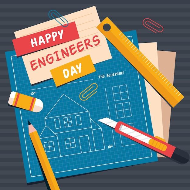 Dzień Inżyniera Z Planami I Ołówkiem Darmowych Wektorów