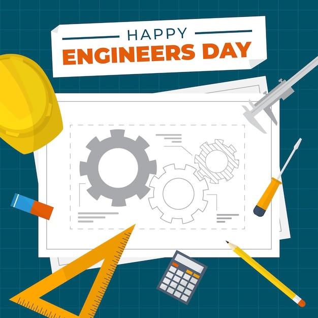 Dzień Inżyniera Z Planami Darmowych Wektorów