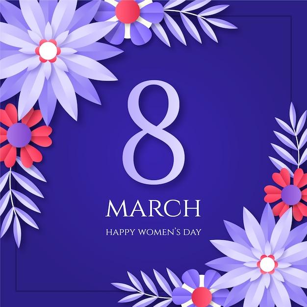 Dzień Kobiet 8 Marca W Stylu Papierowym Darmowych Wektorów
