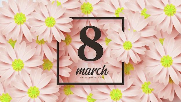 Dzień Kobiet Z Ilustracją 8 Z Kwiatami Poniżej. Premium Wektorów