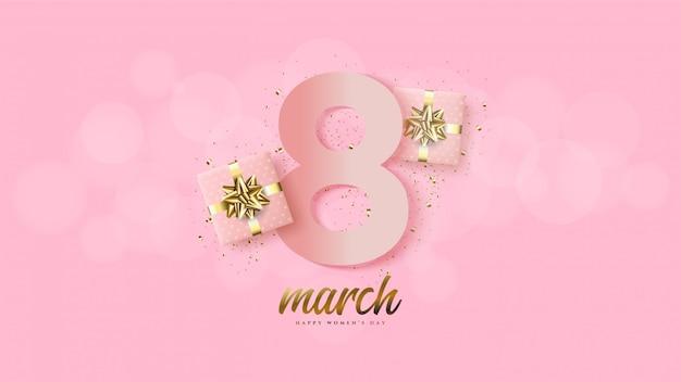 Dzień Kobiet Z Ilustracją Numer 8 Różowy Z Pudełkiem Prezentowym 3d. Premium Wektorów