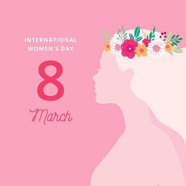 Dzień Kobiet Z Kobietą Noszącą Koronę Kwiatową Darmowych Wektorów