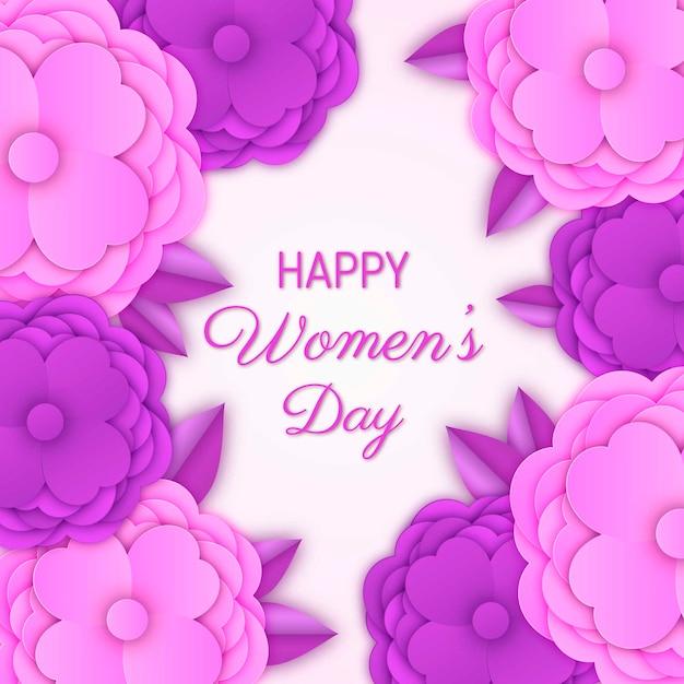 Dzień Kobiet Z Kolorowymi Kwiatami Darmowych Wektorów