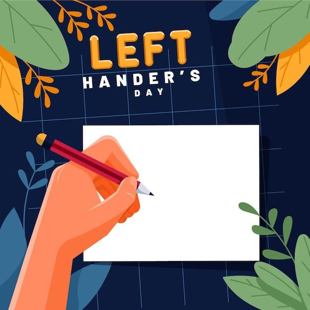 Dzień Leworęcznych Z Pisaniem Lewą Ręką Darmowych Wektorów