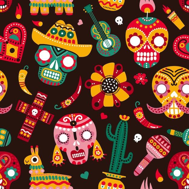 Dzień Martwych Szwu. Czaszki, Gitara I Lama Ostra Papryka, Serce I Kwiat. Tekstura Wektora Meksykańskiego Dia De Los Muertos. Premium Wektorów