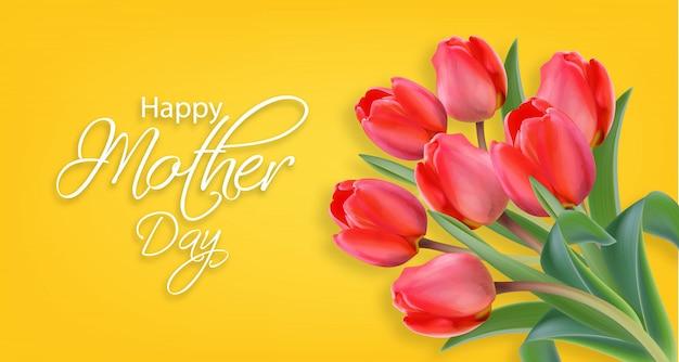 Dzień matki kwiaty tulipanów Premium Wektorów