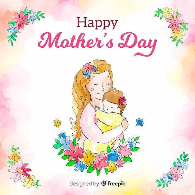 Dzień matki tła akwarela Darmowych Wektorów