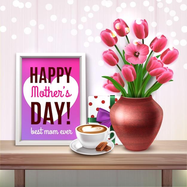 Dzień Matki W Kolorze Kompozycji Z Bukietem Tulipanów Prezent Filiżankę Kawy I Najlepsza Mama Kiedykolwiek Komplementy Ilustracji Darmowych Wektorów