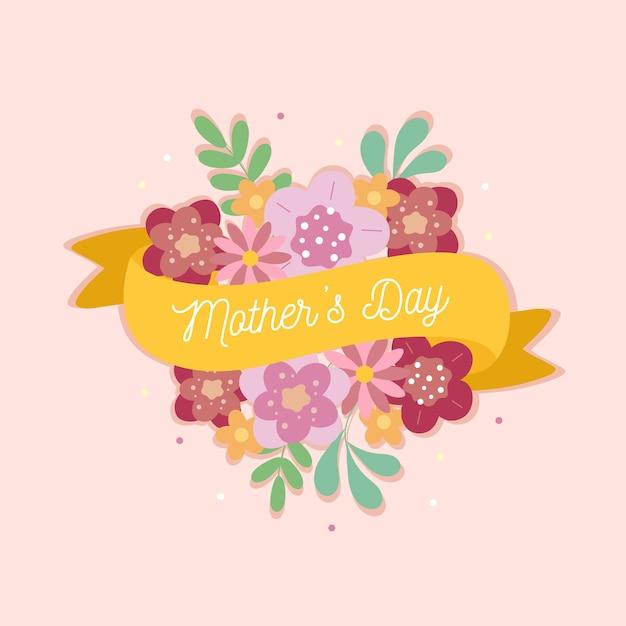 Dzień Matki Z Kwiatami I Wstążkami Darmowych Wektorów