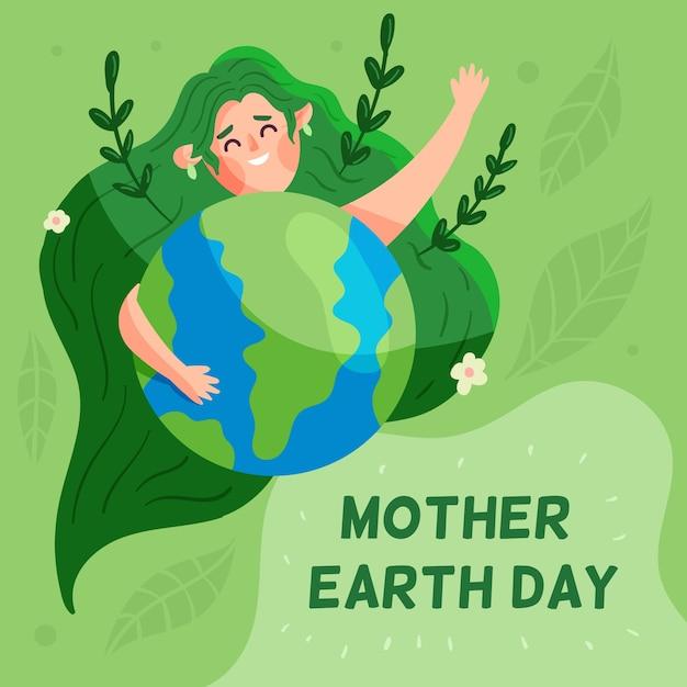 Dzień Matki Ziemi W Płaskiej Konstrukcji Darmowych Wektorów